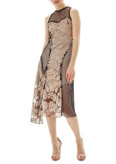 Topshop Lace & Fishnet Midi Dress