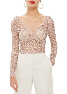 Topshop Lace Crop Plunge Top
