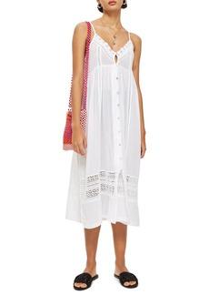 Topshop Lace Frill Midi Dress