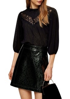 Topshop Lace Inset Smock Top