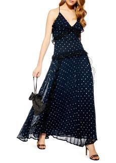 Topshop Lace Metallic Dot Maxi Dress