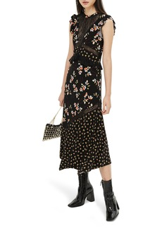 Topshop Lace Mix Spring Midi Dress