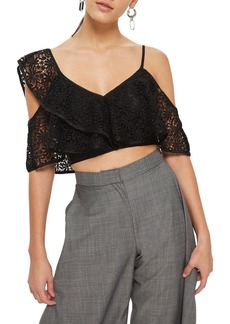 Topshop Lace One-Shoulder Crop Top