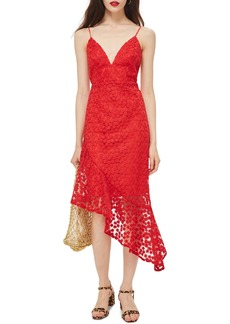 Topshop Lace Plunge Asymmetrical Dress