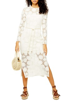 Topshop Lace Rope Belt Midi Dress