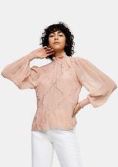 Topshop lace trim blouse in blush