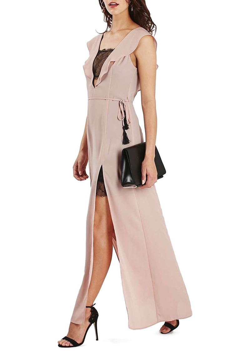 Topshop Lace Trim Flutter Sleeve Maxi Dress (Regular & Petite)