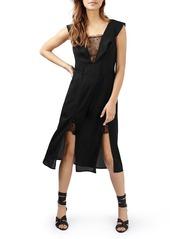 Topshop Lace Trim Flutter Sleeve Midi Dress
