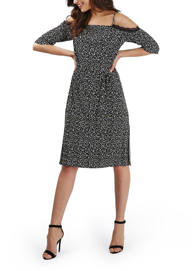 Topshop Lace Trim Geo Print Plissé Cold Shoulder Dress
