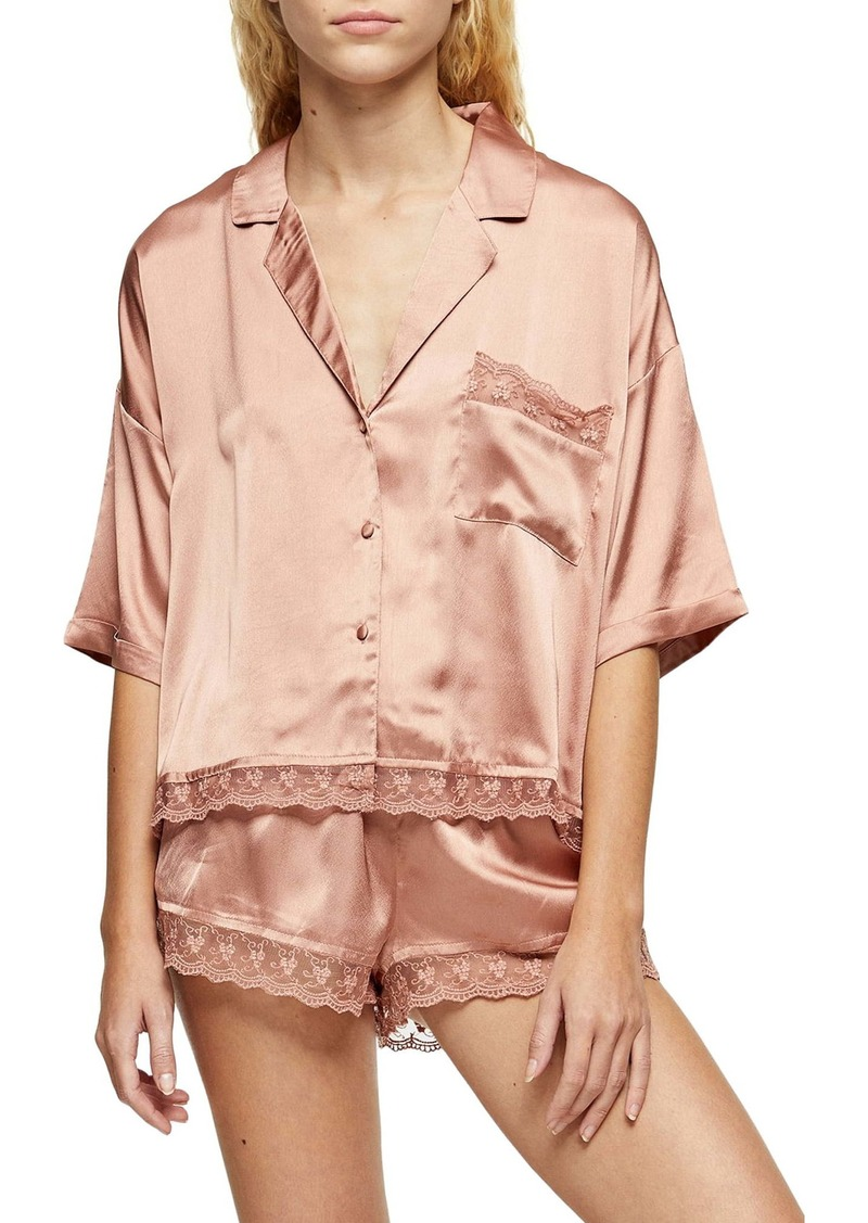 Topshop Lace Trim Satin Pajamas