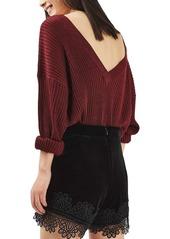 Topshop Lace Trim Velvet Shorts