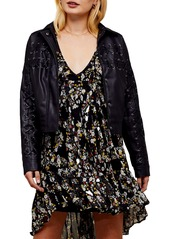 Topshop Lace-Up Crop Faux Leather Jacket