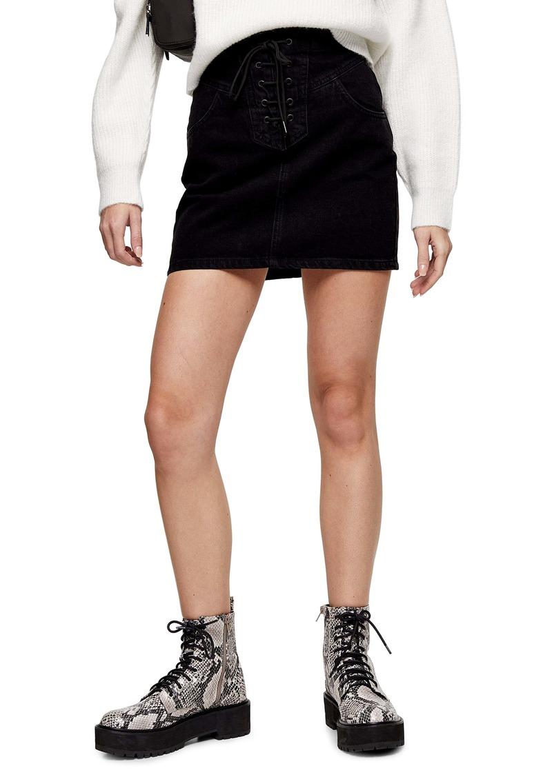 Topshop Lace-Up Denim Miniskirt
