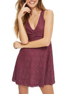 Topshop Lace-Up Lace Skater Dress (Petite)