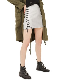 Topshop Lace-Up Side Faux Leather Skirt
