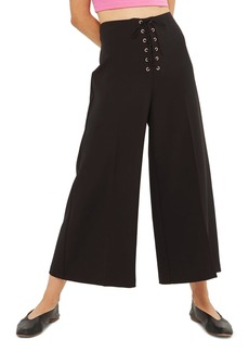 Topshop Lace-Up Wide Leg Crop Pants