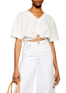 Topshop Laundered Buckle Detail Crop Blouse
