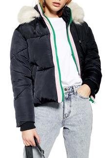 Topshop Lauren Faux Fur Hooded Puffer Jacket