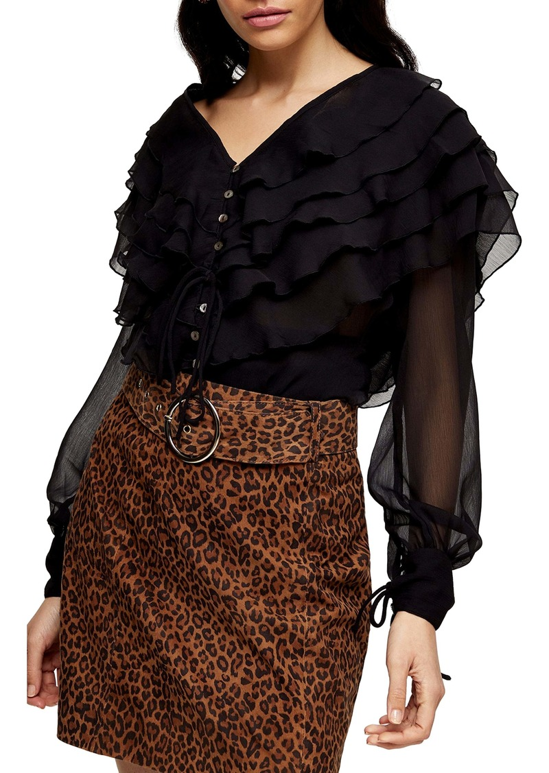 Topshop Layered Ruffle Blouse