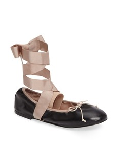 Topshop Le Petite Ankle Tie Ballet Flat (Women)