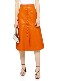 Topshop Leather Button Midi Skirt