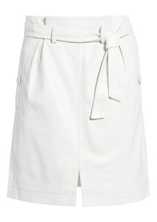 Topshop Leather Paperbag Miniskirt