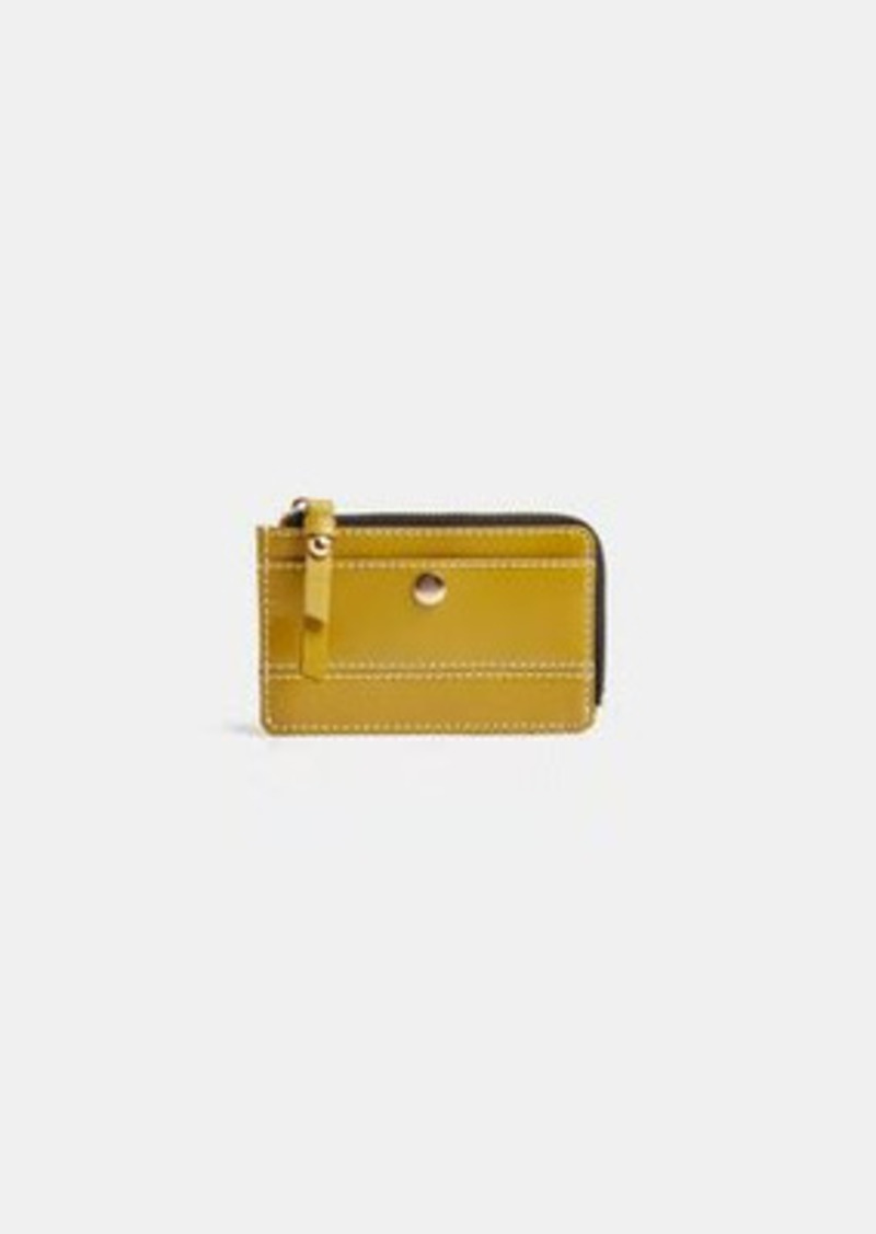 Topshop leather topstitch wallet in olive