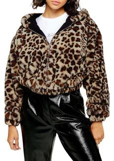 Topshop Leopard Faux Fur Hooded Jacket