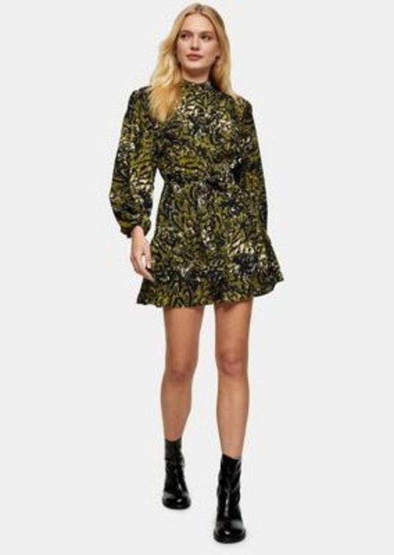 Topshop leopard frill mini shirt dress in khaki