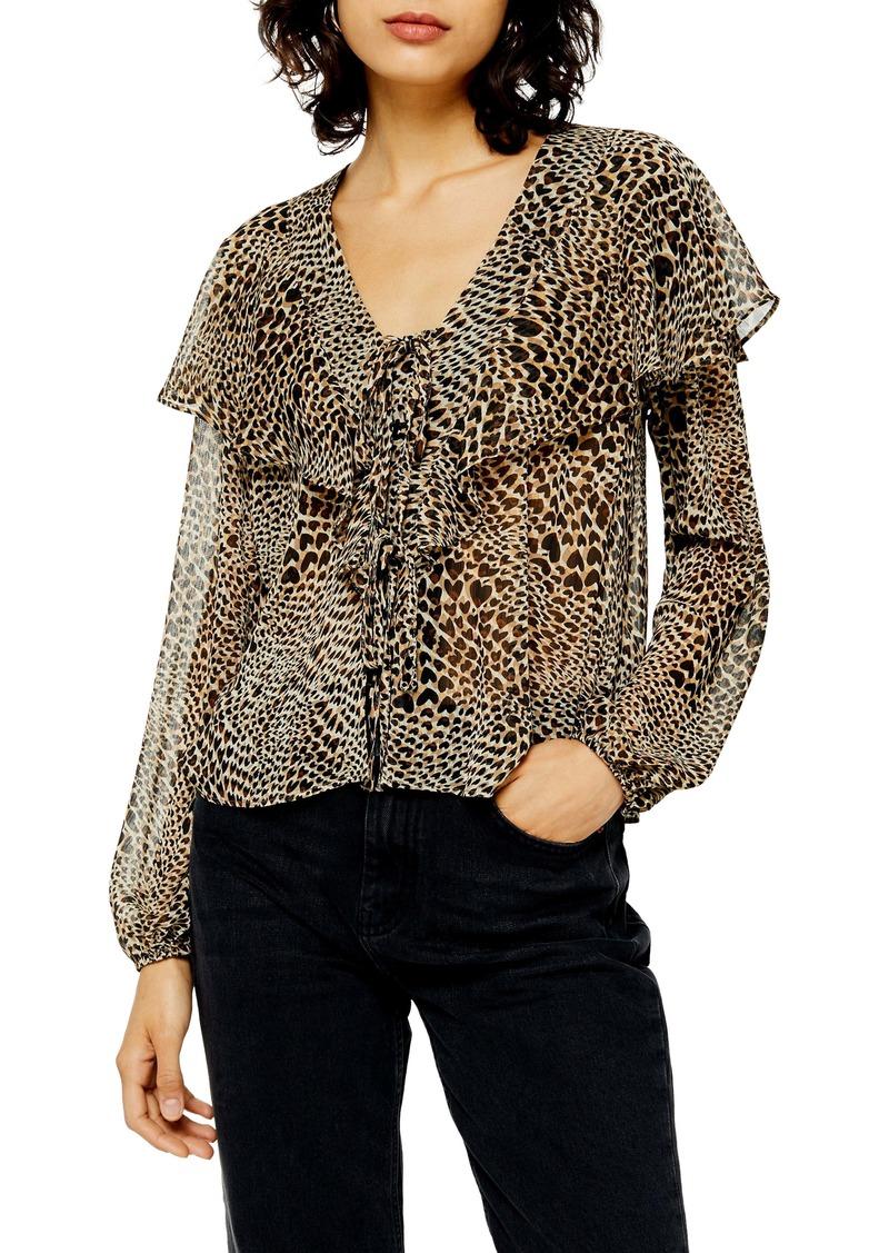 Topshop Leopard Heart Ruffle Top