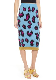 Topshop Leopard Jacquard Pencil Skirt