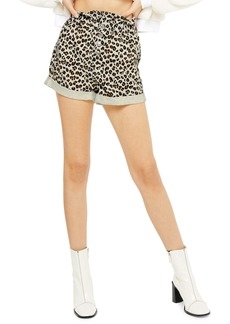 Topshop Leopard Paperbag Denim Shorts