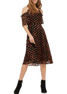 Topshop Leopard Polka Dot Cold Shoulder Dress