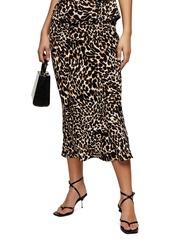 Topshop Leopard Print Bias Satin Midi Skirt