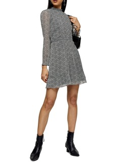 Topshop Leopard Print Long Sleeve Minidress