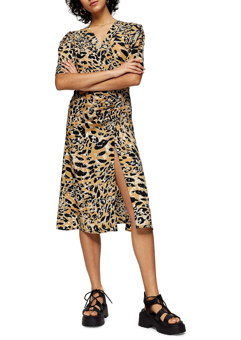 Topshop Leopard Print Mock Wrap Midi Dress