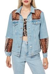 Topshop topshop leopard print organza denim jacket abva19b6ff a