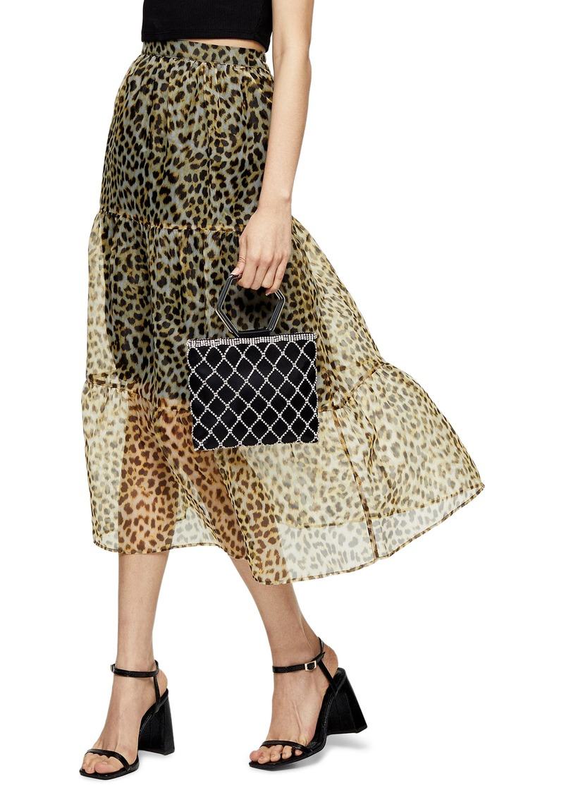 Topshop Leopard Print Organza Midi Skirt