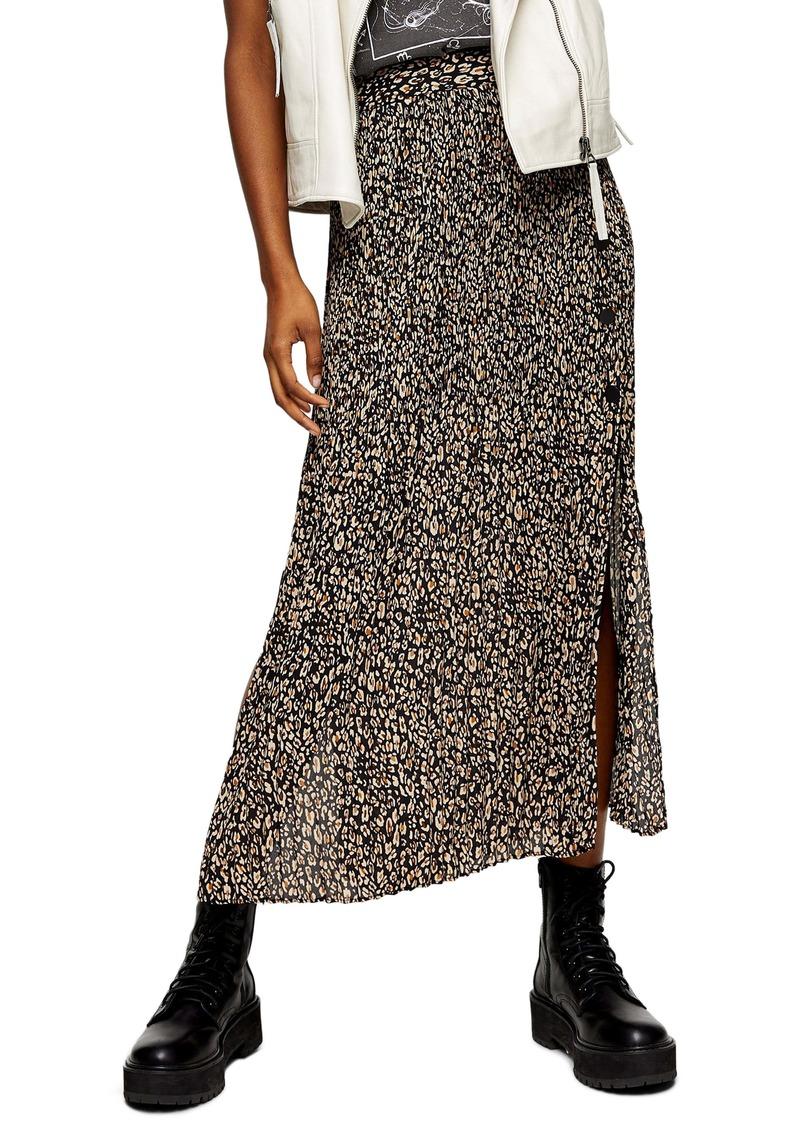 Topshop Leopard Print Pleated Midi Skirt (Regular & Petite)