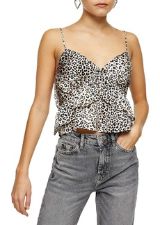 Topshop Leopard Print Ruffle Satin Camisole