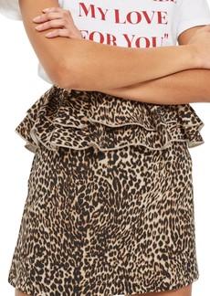 Topshop Leopard Print Ruffle Skirt