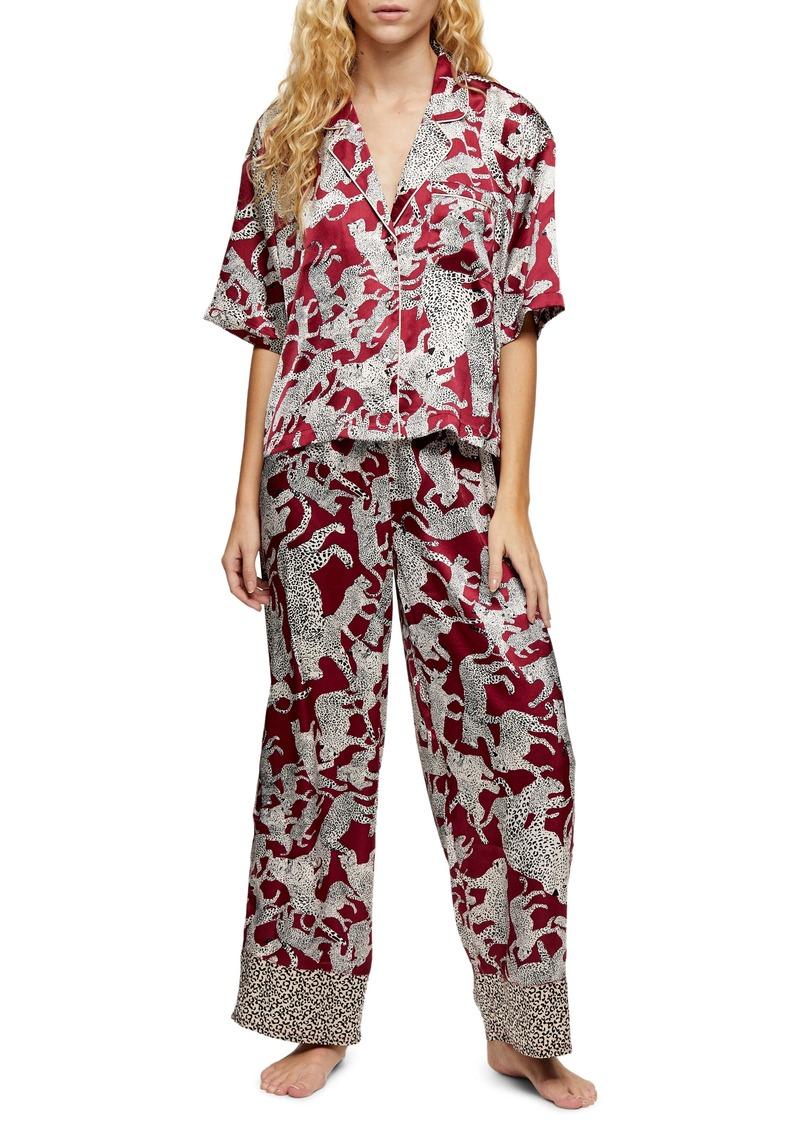 Topshop Leopard Print Satin Pajamas
