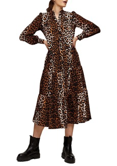 Topshop Leopard Print Tiered Long Sleeve Midi Shirtdress