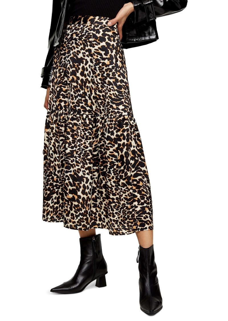Topshop Leopard Print Tiered Midi Skirt