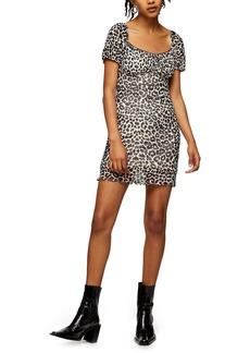 Topshop Leopard Ruffle Hem Mesh Minidress