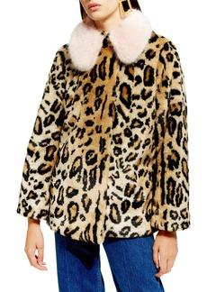 Topshop Leopard Spot Faux Fur Coat (Petite)