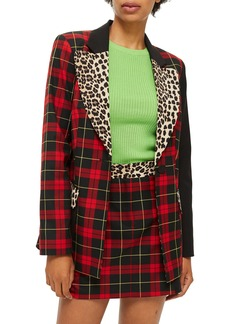 Topshop Leopard Trim Tartan Blazer