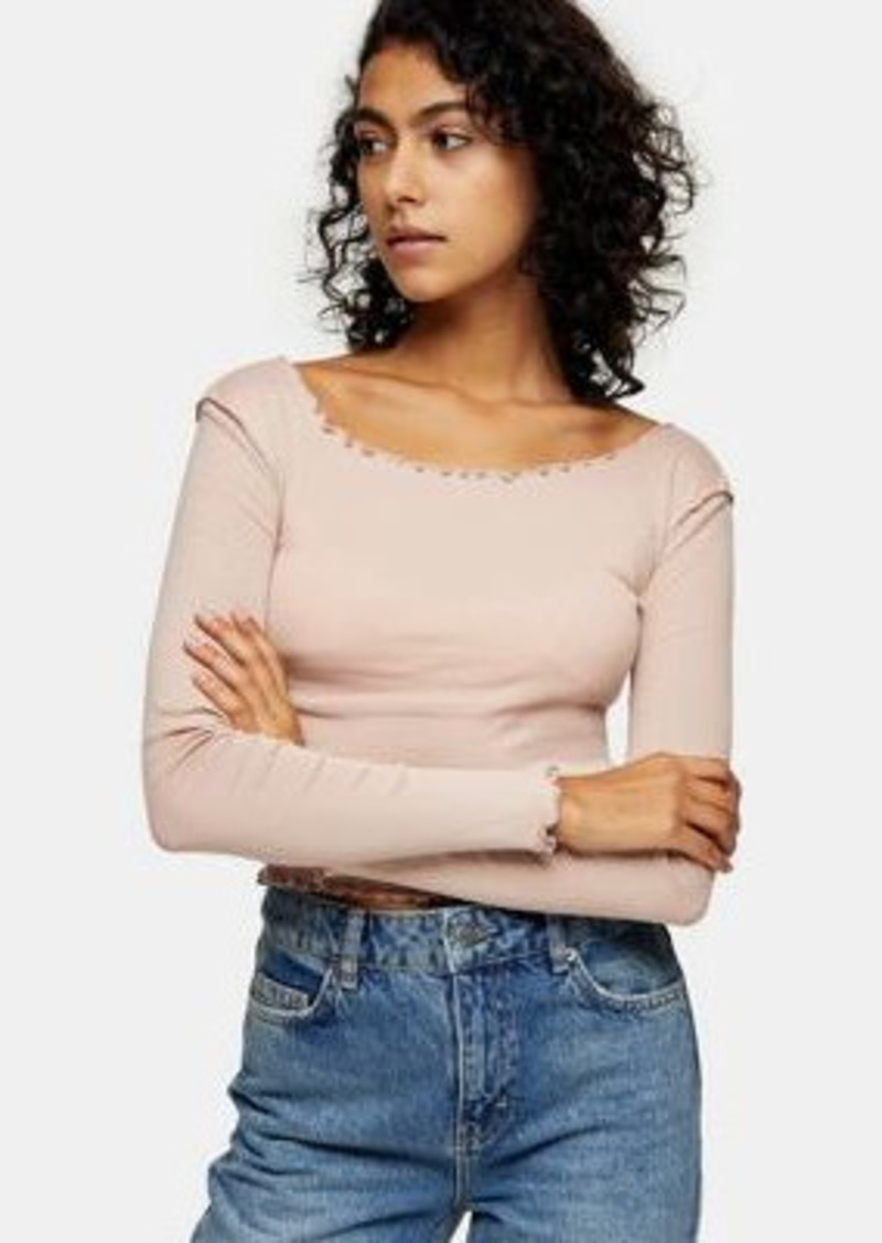 Topshop lettuce edge long sleeve top in rose