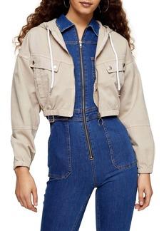 Topshop Lily Hooded Crop Shirt Jacket