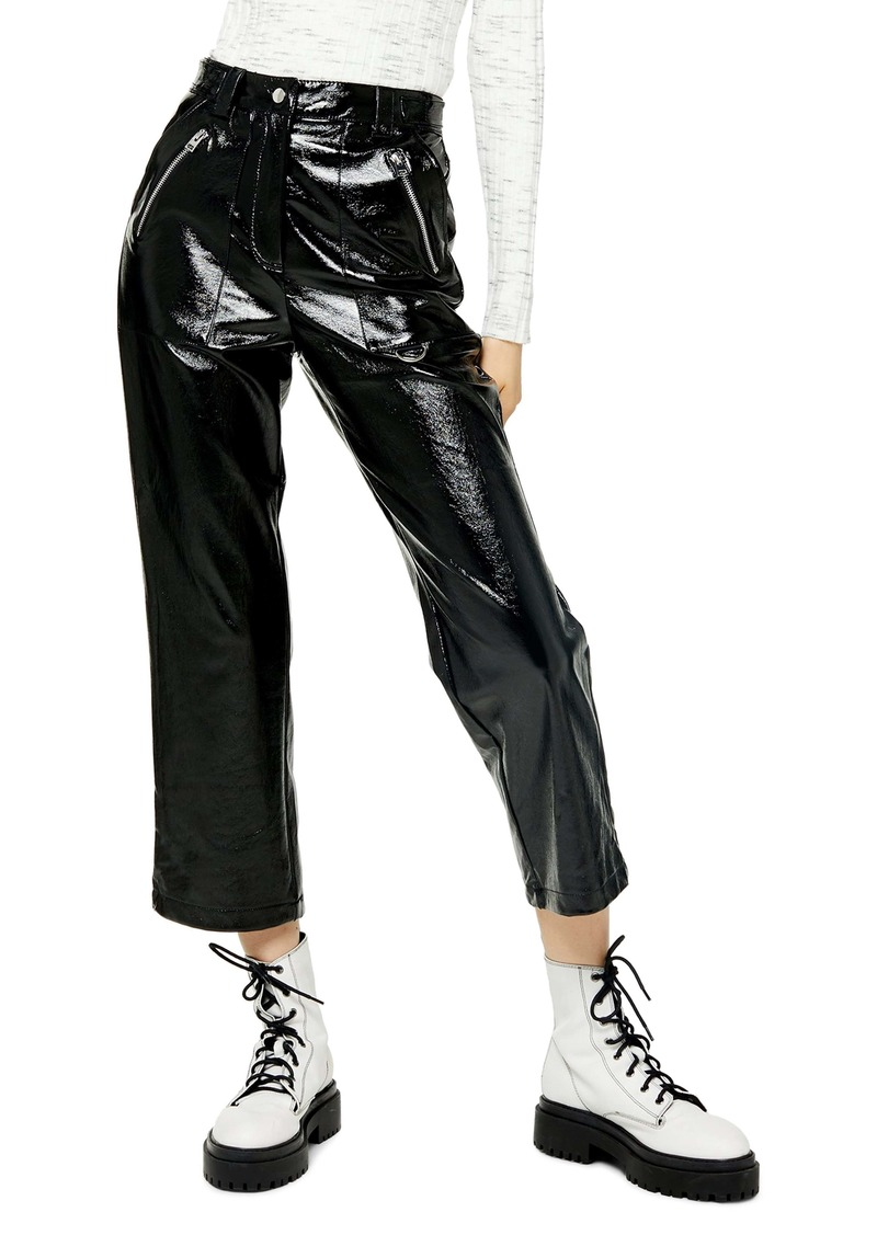 Topshop Lily Straight Leg Faux Leather Trousers (Regular & Petite)